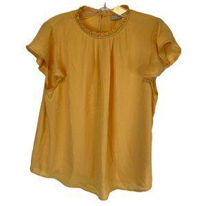 Active USA Yellow High Neck Flutter Sleeve Blouse